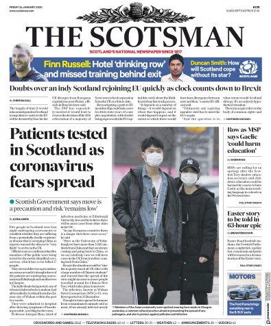 The Scotsman Newspaper Front Page (UK) for 24 January 2020