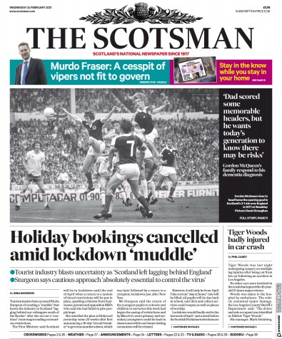 The Scotsman Newspaper Front Page (UK) for 24 February 2021