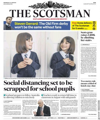 The Scotsman Newspaper Front Page (UK) for 24 June 2020