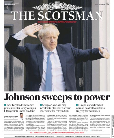 The Scotsman Newspaper Front Page (UK) for 24 July 2019
