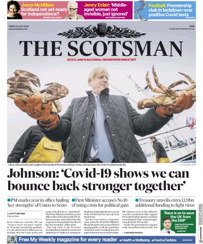The Scotsman Newspaper Front Page (UK) for 24 July 2020