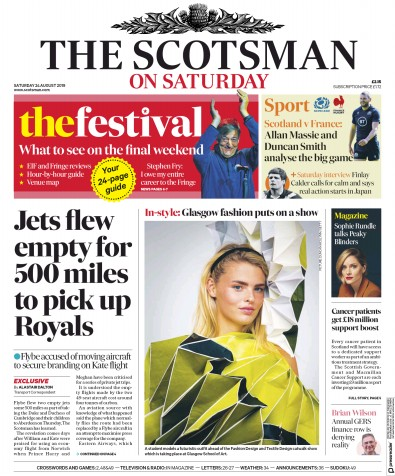 The Scotsman Newspaper Front Page (UK) for 24 August 2019