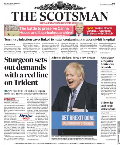 The Scotsman Newspaper Front Page (UK) for 25 November 2019