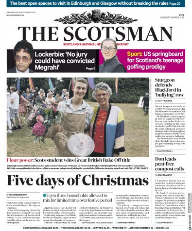 The Scotsman Newspaper Front Page (UK) for 25 November 2020