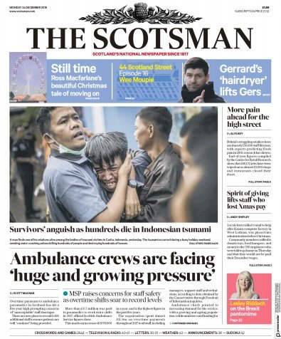 The Scotsman Newspaper Front Page (UK) for 25 December 2018