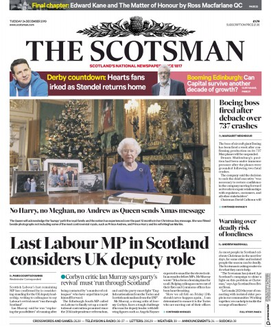 The Scotsman Newspaper Front Page (UK) for 25 December 2019