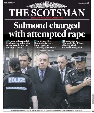 The Scotsman Newspaper Front Page (UK) for 25 January 2019