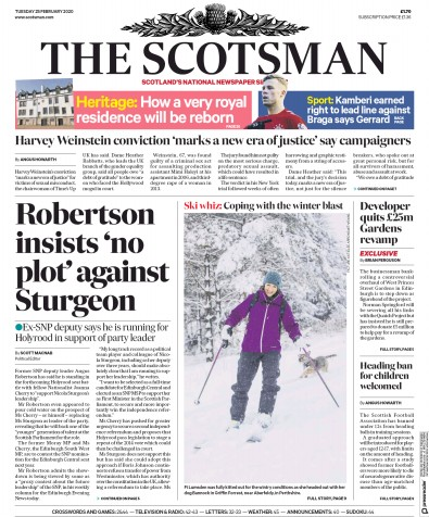 The Scotsman Newspaper Front Page (UK) for 25 February 2020