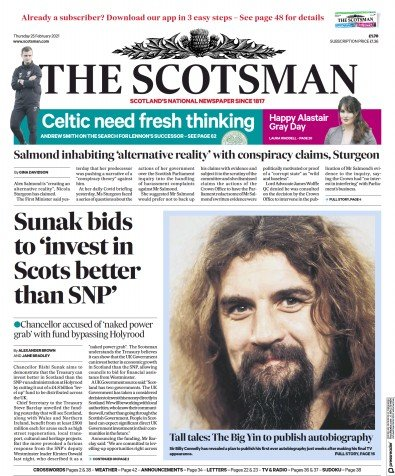 The Scotsman Newspaper Front Page (UK) for 25 February 2021