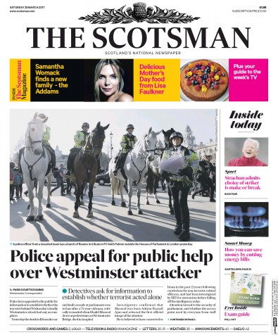 The Scotsman Newspaper Front Page (UK) for 25 March 2017