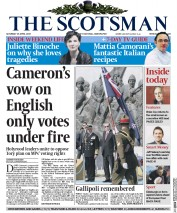 The Scotsman (UK) Newspaper Front Page for 25 April 2015