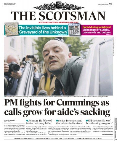 The Scotsman Newspaper Front Page (UK) for 25 May 2020