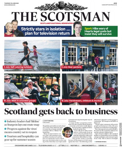 The Scotsman Newspaper Front Page (UK) for 25 June 2020
