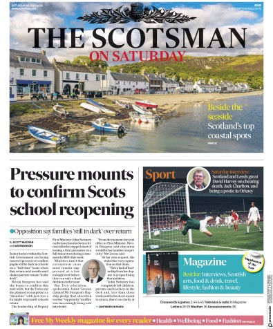The Scotsman Newspaper Front Page (UK) for 25 July 2020