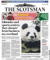The Scotsman (UK) Newspaper Front Page for 25 August 2017