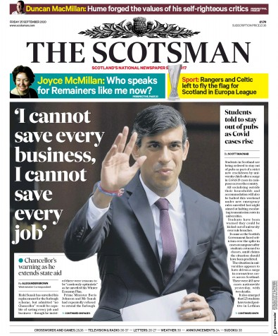 The Scotsman Newspaper Front Page (UK) for 25 September 2020