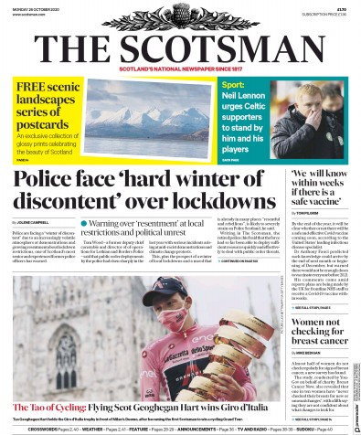 The Scotsman Newspaper Front Page (UK) for 26 October 2020