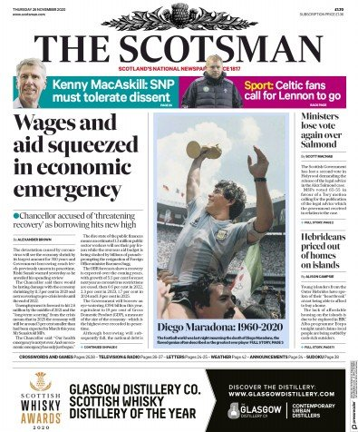 The Scotsman Newspaper Front Page (UK) for 26 November 2020