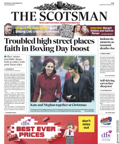 The Scotsman Newspaper Front Page (UK) for 26 December 2018