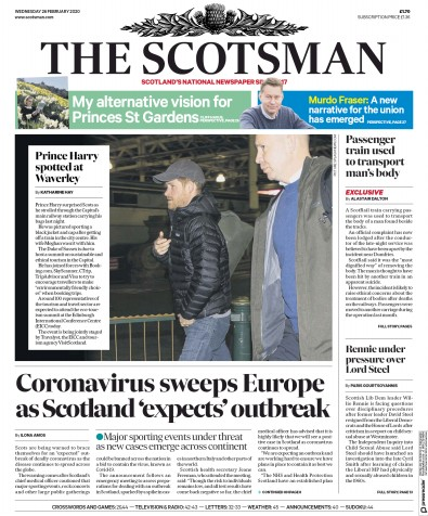 The Scotsman Newspaper Front Page (UK) for 26 February 2020