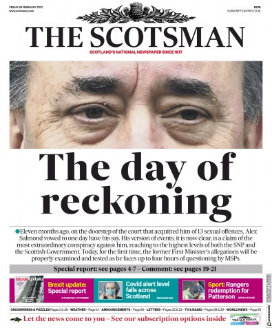 The Scotsman Newspaper Front Page (UK) for 26 February 2021