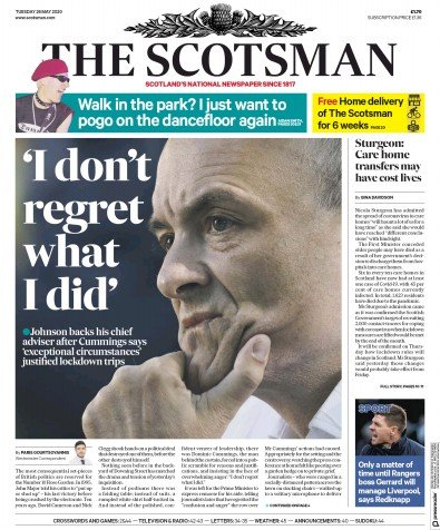 The Scotsman Newspaper Front Page (UK) for 26 May 2020