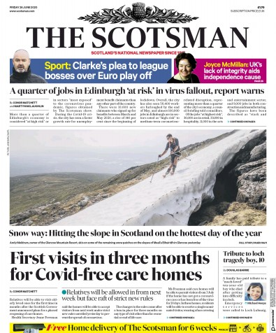 The Scotsman Newspaper Front Page (UK) for 26 June 2020