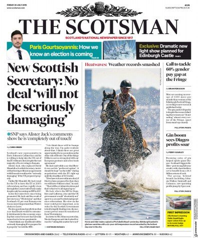 The Scotsman Newspaper Front Page (UK) for 26 July 2019