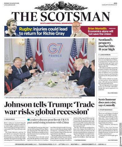 The Scotsman Newspaper Front Page (UK) for 26 August 2019