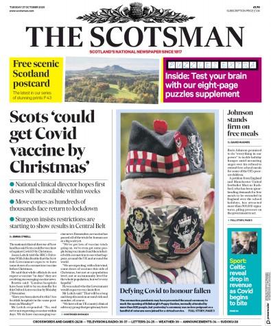 The Scotsman Newspaper Front Page (UK) for 27 October 2020