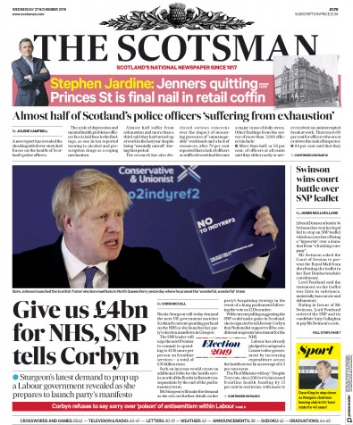 The Scotsman Newspaper Front Page (UK) for 27 November 2019