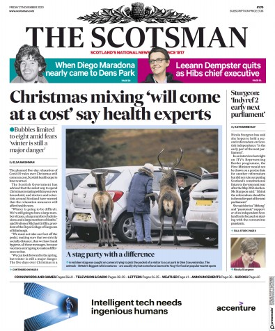 The Scotsman Newspaper Front Page (UK) for 27 November 2020