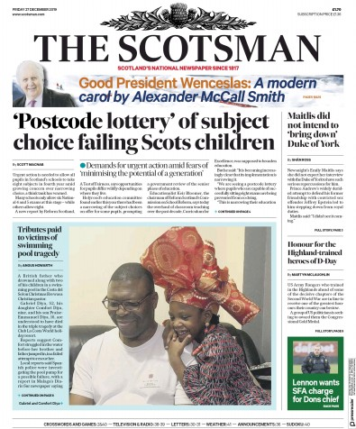 The Scotsman Newspaper Front Page (UK) for 27 December 2019