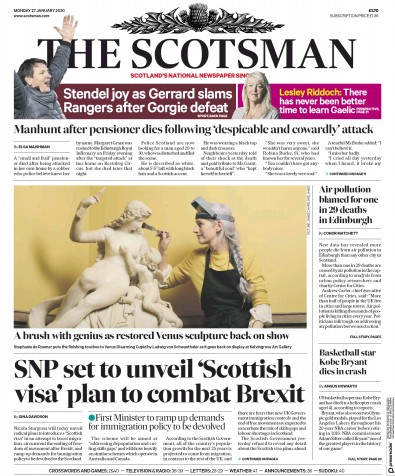 The Scotsman Newspaper Front Page (UK) for 27 January 2020