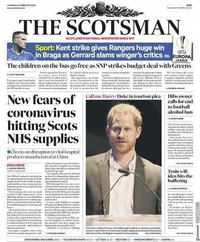 The Scotsman Newspaper Front Page (UK) for 27 February 2020