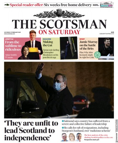 The Scotsman Newspaper Front Page (UK) for 27 February 2021