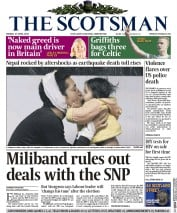 The Scotsman (UK) Newspaper Front Page for 27 April 2015