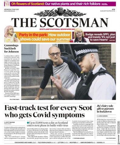 The Scotsman Newspaper Front Page (UK) for 27 May 2020
