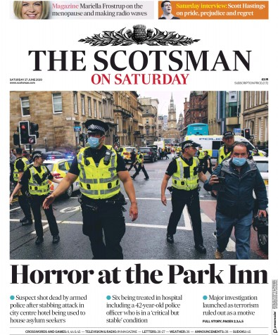 The Scotsman Newspaper Front Page (UK) for 27 June 2020