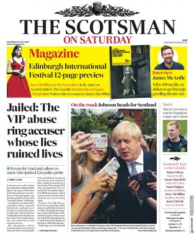 The Scotsman Newspaper Front Page (UK) for 27 July 2019