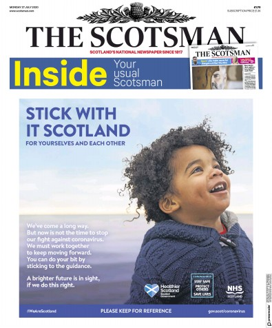 The Scotsman Newspaper Front Page (UK) for 27 July 2020