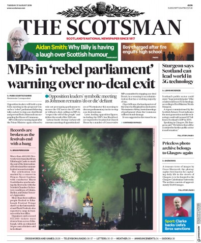 The Scotsman Newspaper Front Page (UK) for 27 August 2019
