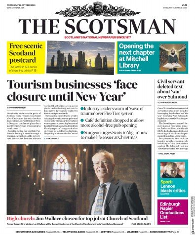 The Scotsman Newspaper Front Page (UK) for 28 October 2020