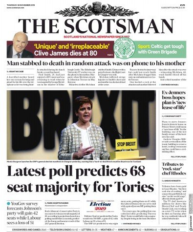 The Scotsman Newspaper Front Page (UK) for 28 November 2019