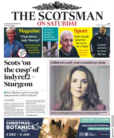 The Scotsman Newspaper Front Page (UK) for 28 November 2020