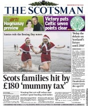 The Scotsman Newspaper Front Page (UK) for 28 December 2012