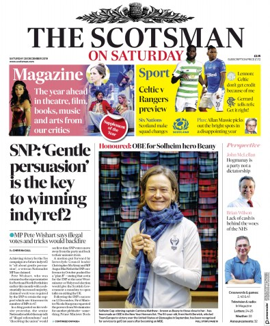 The Scotsman Newspaper Front Page (UK) for 28 December 2019