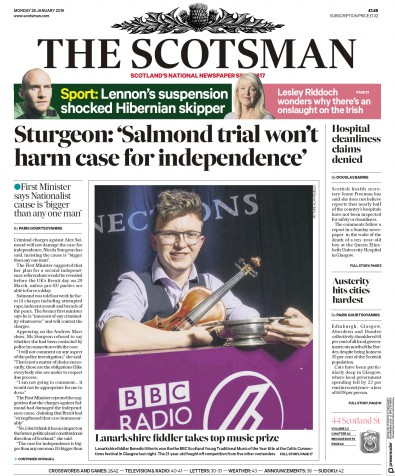 The Scotsman Newspaper Front Page (UK) for 28 January 2019