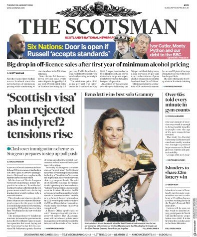 The Scotsman Newspaper Front Page (UK) for 28 January 2020