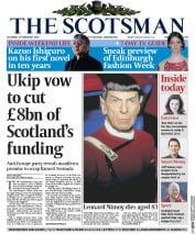 The Scotsman (UK) Newspaper Front Page for 28 February 2015